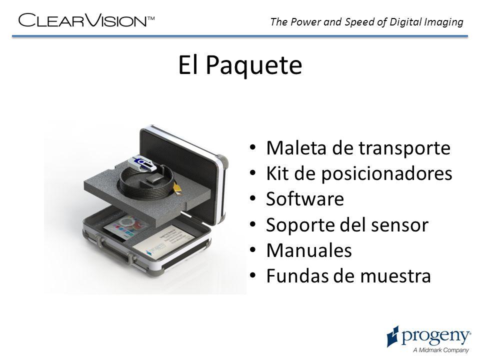 El Paquete Maleta de transporte Kit de posicionadores Software Soporte del sensor Manuales Fundas de muestra