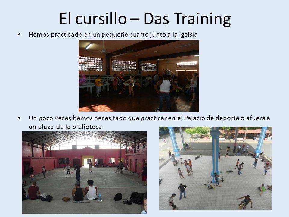 El cursillo – Das Training Hemos practicado en un pequeño cuarto junto a la igelsia Un poco veces hemos necesitado que practicar en el Palacio de deporte o afuera a un plaza de la biblioteca