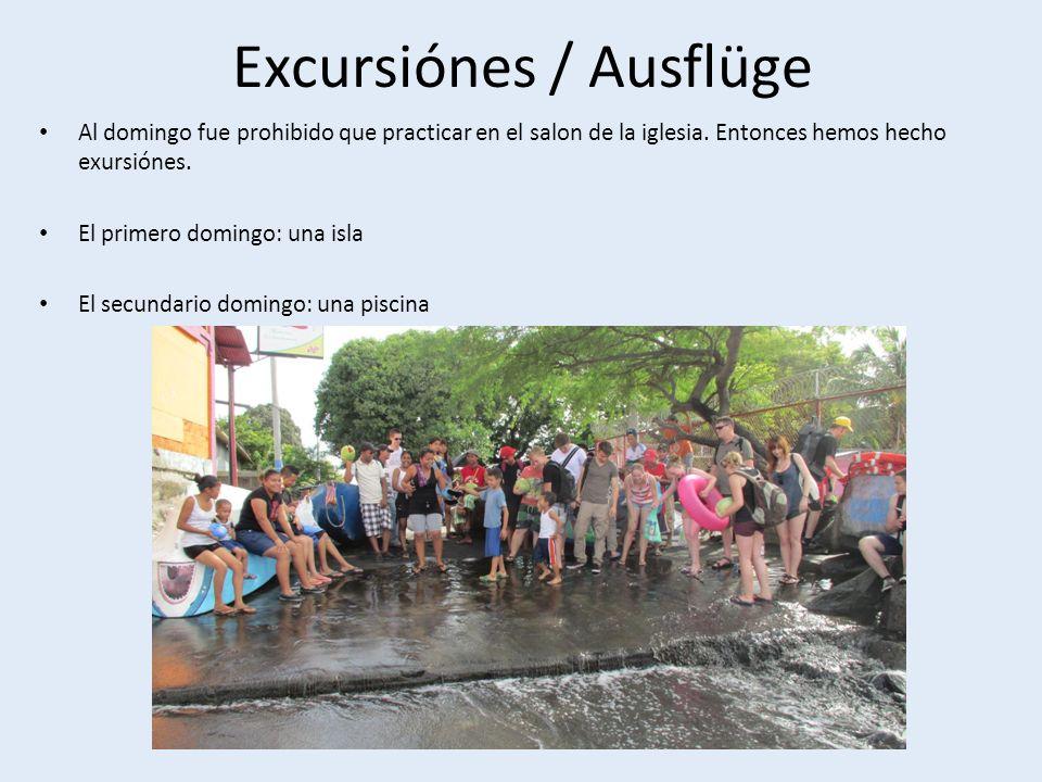 Excursiónes / Ausflüge Al domingo fue prohibido que practicar en el salon de la iglesia.