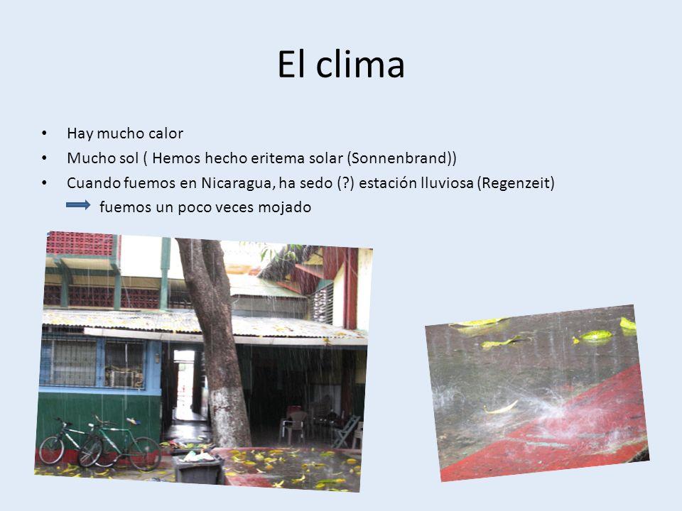 El clima Hay mucho calor Mucho sol ( Hemos hecho eritema solar (Sonnenbrand)) Cuando fuemos en Nicaragua, ha sedo ( ) estación lluviosa (Regenzeit) fuemos un poco veces mojado