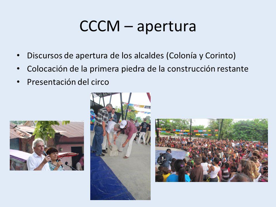 CCCM – apertura Discursos de apertura de los alcaldes (Colonía y Corinto) Colocación de la primera piedra de la construcción restante Presentación del circo