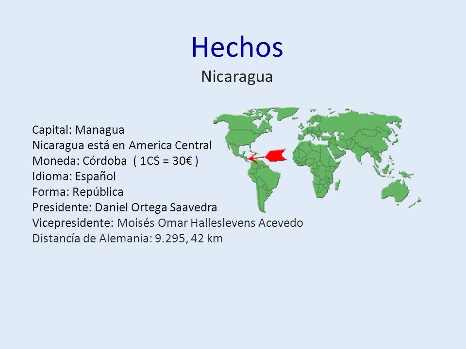 Hechos Nicaragua Capital: Managua Nicaragua está en America Central Moneda: Córdoba ( 1C$ = 30 ) Idioma: Español Forma: República Presidente: Daniel Ortega Saavedra Vicepresidente: Moisés Omar Halleslevens Acevedo Distancía de Alemania: 9.295, 42 km