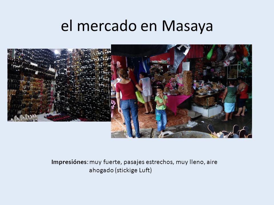 el mercado en Masaya Impresiónes: muy fuerte, pasajes estrechos, muy lleno, aire ahogado (stickige Luft)