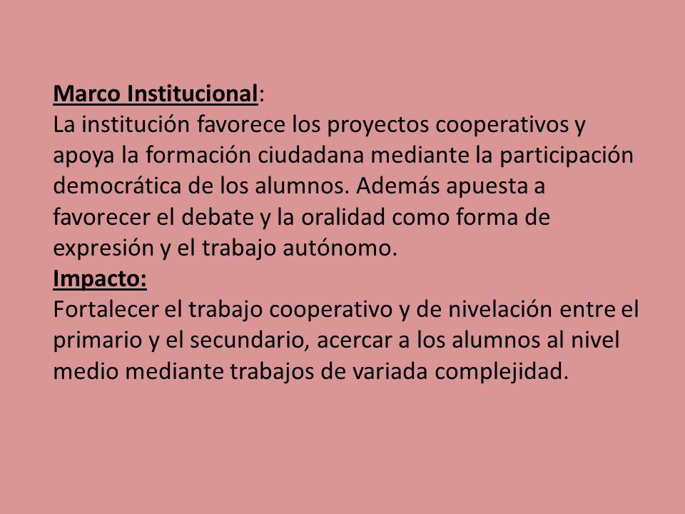 Marco Institucional: La institución favorece los proyectos cooperativos y apoya la formación ciudadana mediante la participación democrática de los alumnos.