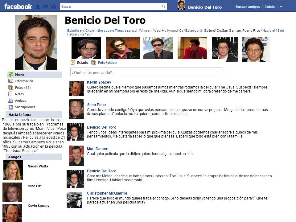 Naomi Watts Brad Pitt Kevin Spacey Claude Monet Sobre Benicio Soy uno de los actores más apacionados en toda la industria.