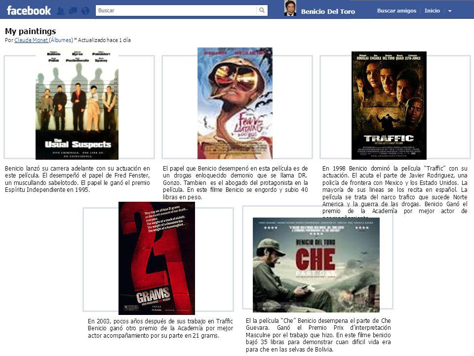 Claude Monet My paintings Por Claude Monet (Álbumes) * Actualizado hace 1 díaClaude Monet Benicio lanzó su carrera adelante con su actuación en este película.