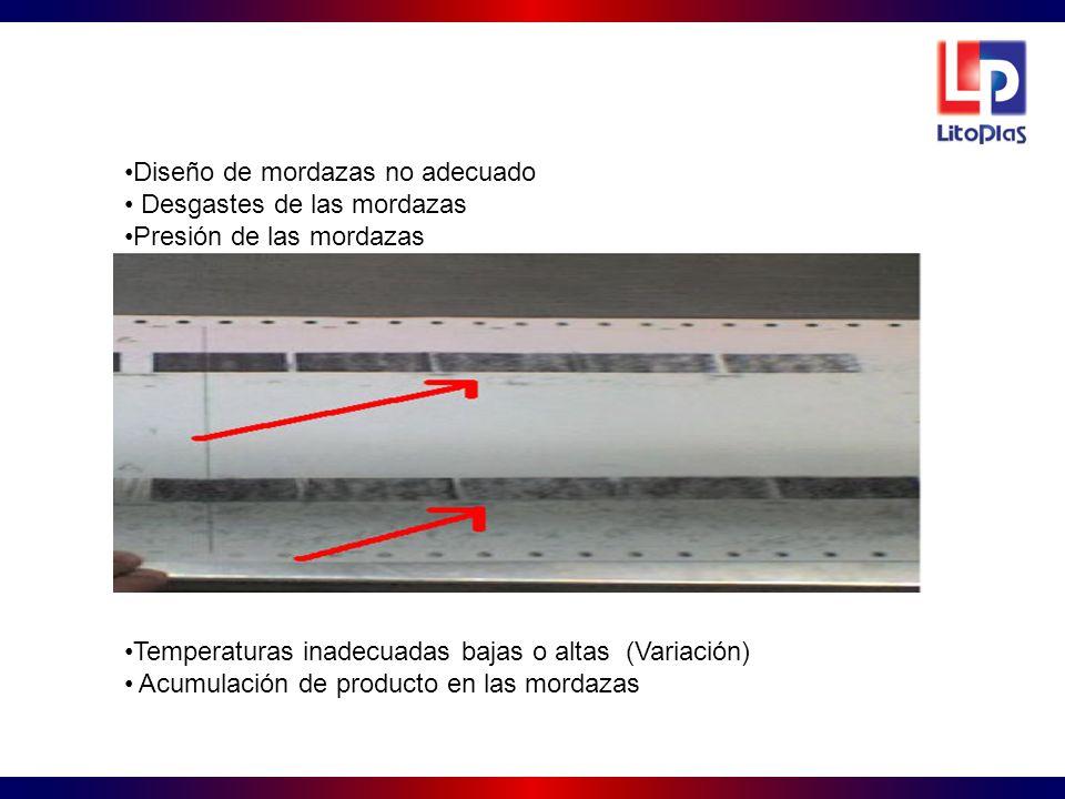 Diseño de mordazas no adecuado Desgastes de las mordazas Presión de las mordazas Temperaturas inadecuadas bajas o altas (Variación) Acumulación de pro