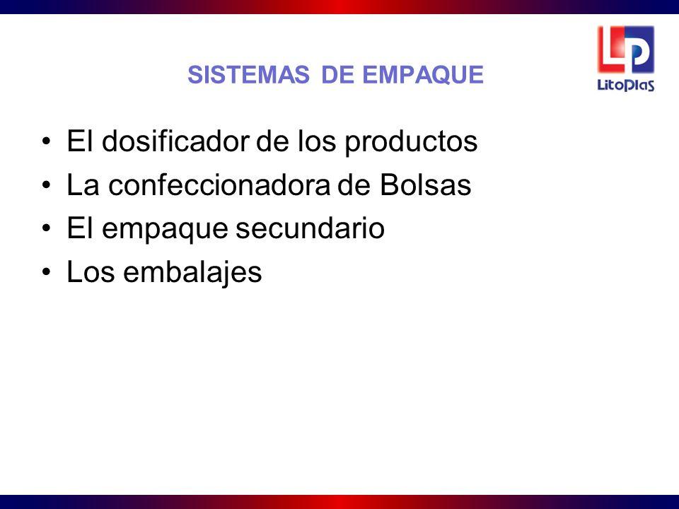 SISTEMAS DE EMPAQUE El dosificador de los productos La confeccionadora de Bolsas El empaque secundario Los embalajes