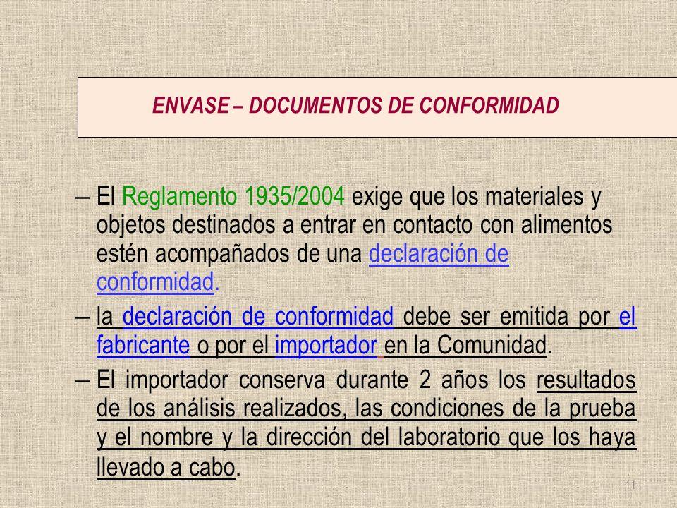 ENVASE – DOCUMENTOS DE CONFORMIDAD – El Reglamento 1935/2004 exige que los materiales y objetos destinados a entrar en contacto con alimentos estén ac