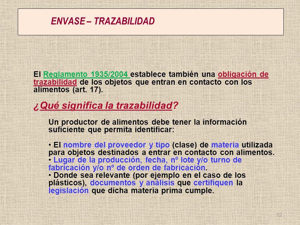 ENVASE – TRAZABILIDAD El Reglamento 1935/2004 establece también una obligación de trazabilidad de los objetos que entran en contacto con los alimentos