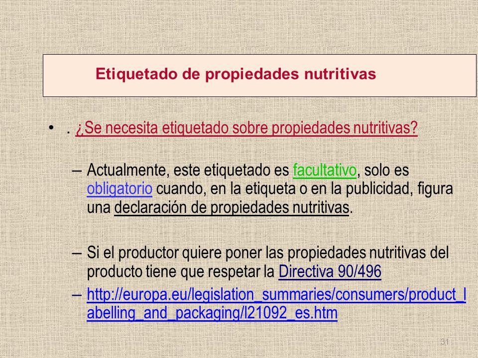 Etiquetado de propiedades nutritivas. ¿Se necesita etiquetado sobre propiedades nutritivas? – Actualmente, este etiquetado es facultativo, solo es obl