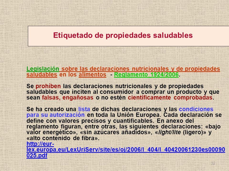 Etiquetado de propiedades saludables Legislación sobre las declaraciones nutricionales y de propiedades saludables en los alimentos - Reglamento 1924/