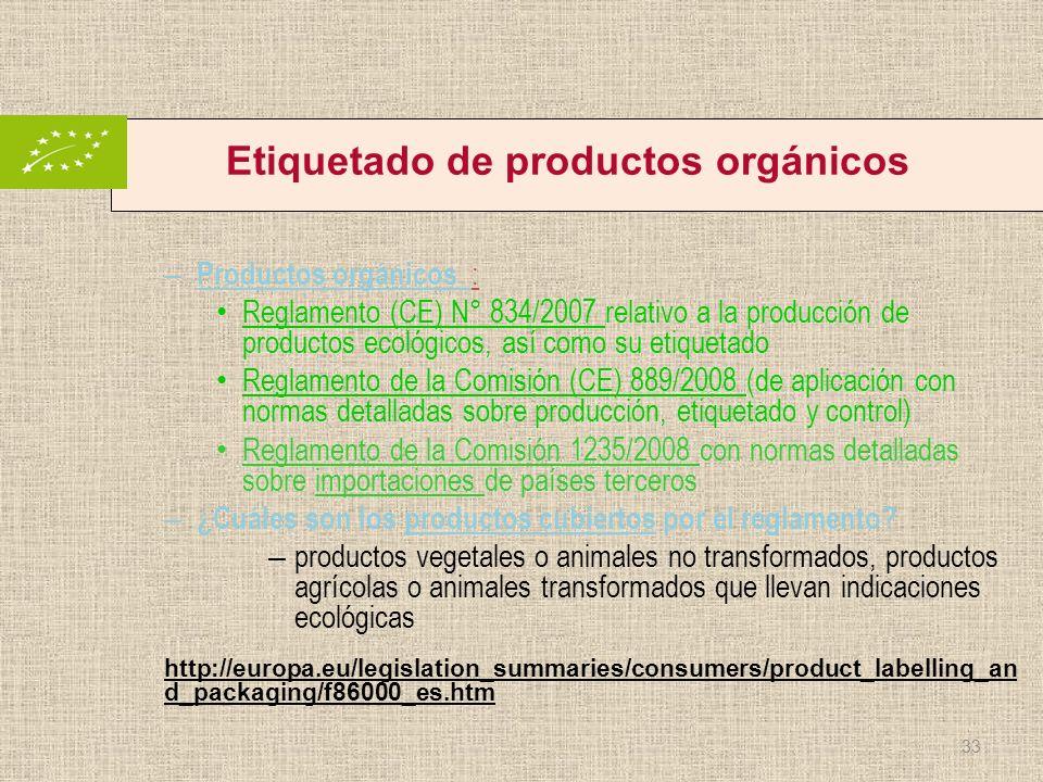 Etiquetado de productos orgánicos – Productos orgánicos : Reglamento (CE) N° 834/2007 relativo a la producción de productos ecológicos, así como su et