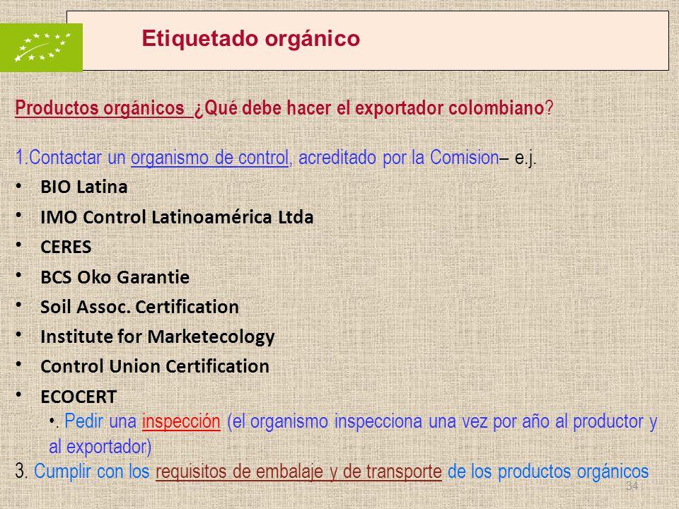 Etiquetado orgánico Productos orgánicos ¿Qué debe hacer el exportador colombiano ? 1.Contactar un organismo de control, acreditado por la Comision– e.