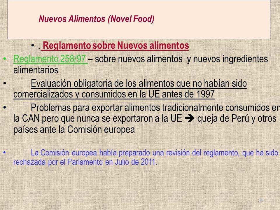 Nuevos Alimentos (Novel Food). Reglamento sobre Nuevos alimentos Reglamento 258/97 – sobre nuevos alimentos y nuevos ingredientes alimentarios Evaluac