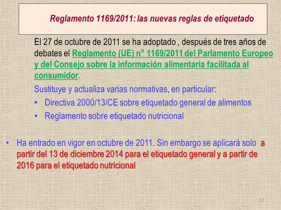 Reglamento 1169/2011: las nuevas reglas de etiquetado El 27 de octubre de 2011 se ha adoptado, después de tres años de debates el Reglamento (UE) n° 1
