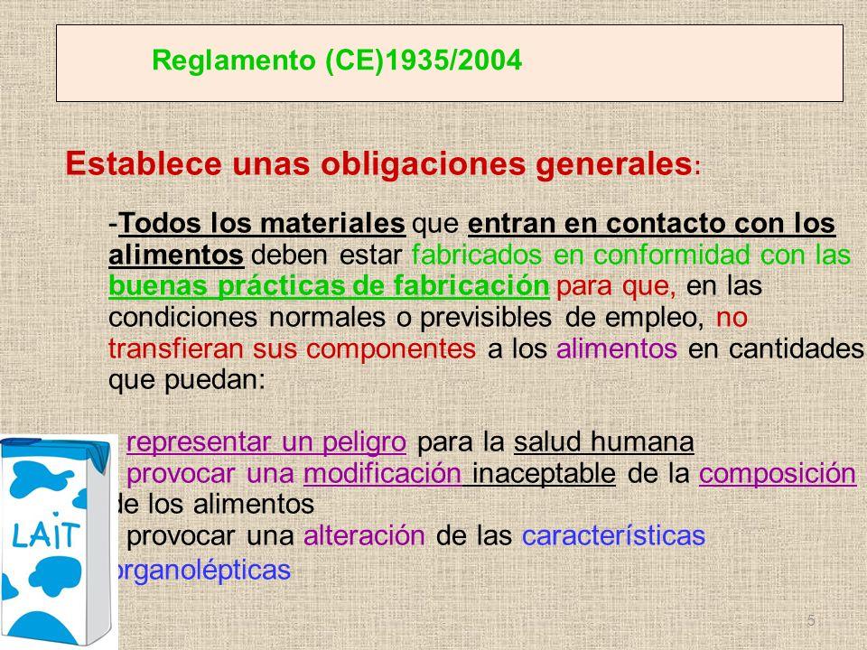 Reglamento (CE)1935/2004 Establece unas obligaciones generales : -Todos los materiales que entran en contacto con los alimentos deben estar fabricados