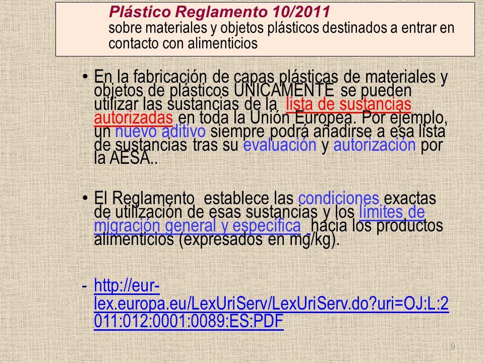 Plástico Reglamento 10/2011 sobre materiales y objetos plásticos destinados a entrar en contacto con alimenticios En la fabricación de capas plásticas