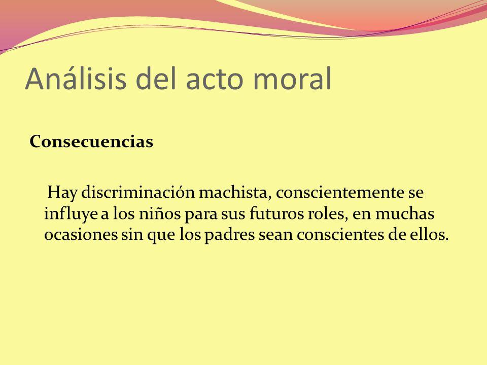 Análisis del acto moral Consecuencias Hay discriminación machista, conscientemente se influye a los niños para sus futuros roles, en muchas ocasiones