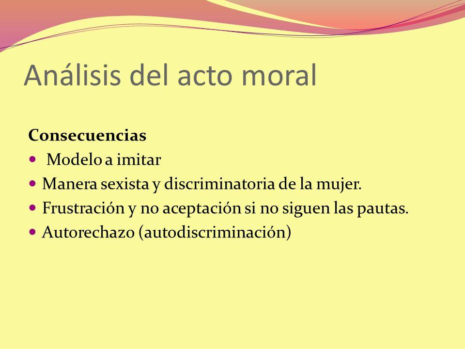 Análisis del acto moral Consecuencias Modelo a imitar Manera sexista y discriminatoria de la mujer. Frustración y no aceptación si no siguen las pauta