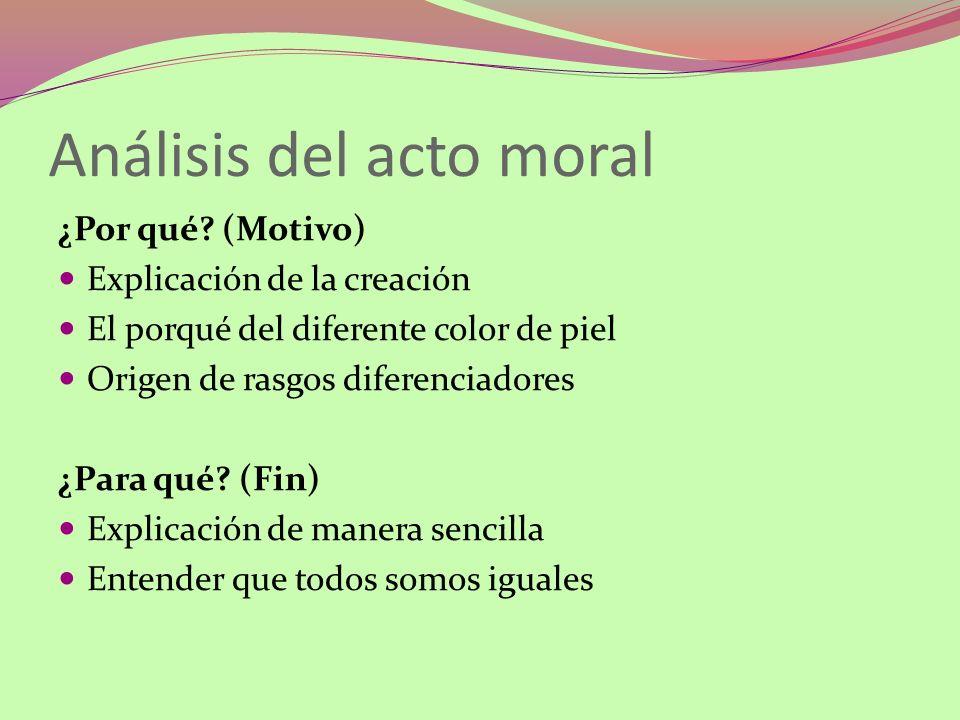Análisis del acto moral ¿Por qué? (Motivo) Explicación de la creación El porqué del diferente color de piel Origen de rasgos diferenciadores ¿Para qué