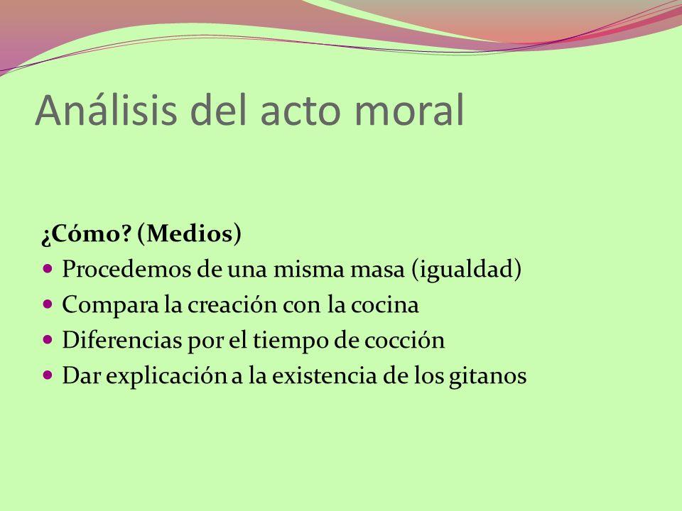 Análisis del acto moral ¿Cómo? (Medios) Procedemos de una misma masa (igualdad) Compara la creación con la cocina Diferencias por el tiempo de cocción