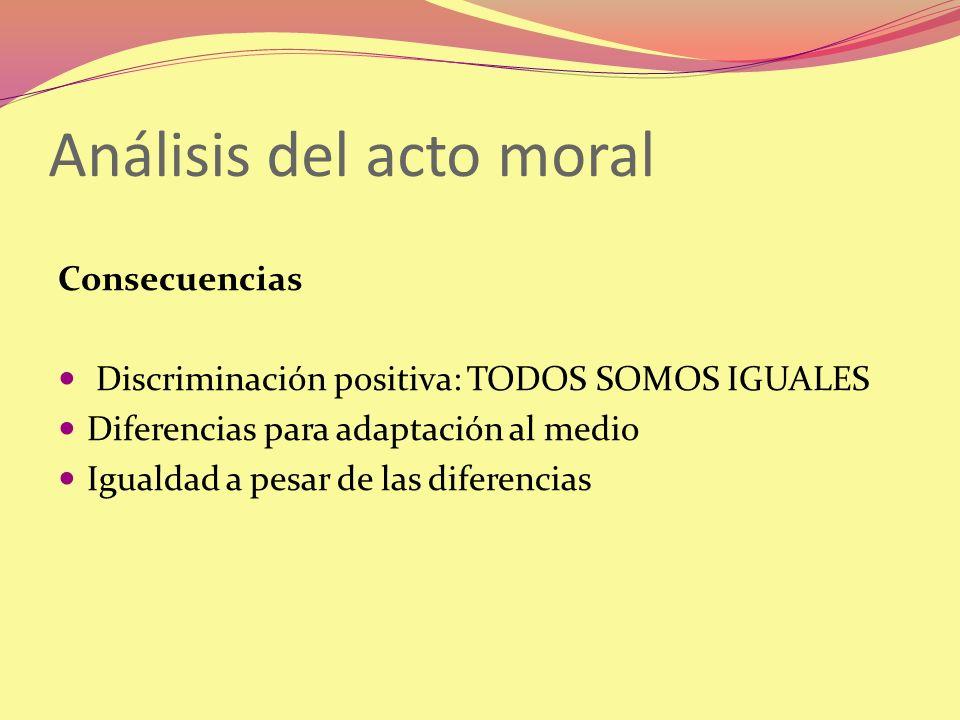 Análisis del acto moral Consecuencias Discriminación positiva: TODOS SOMOS IGUALES Diferencias para adaptación al medio Igualdad a pesar de las difere