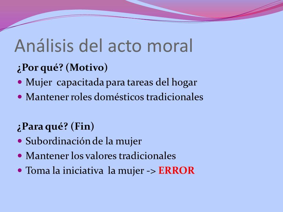 Análisis del acto moral ¿Por qué? (Motivo) Mujer capacitada para tareas del hogar Mantener roles domésticos tradicionales ¿Para qué? (Fin) Subordinaci