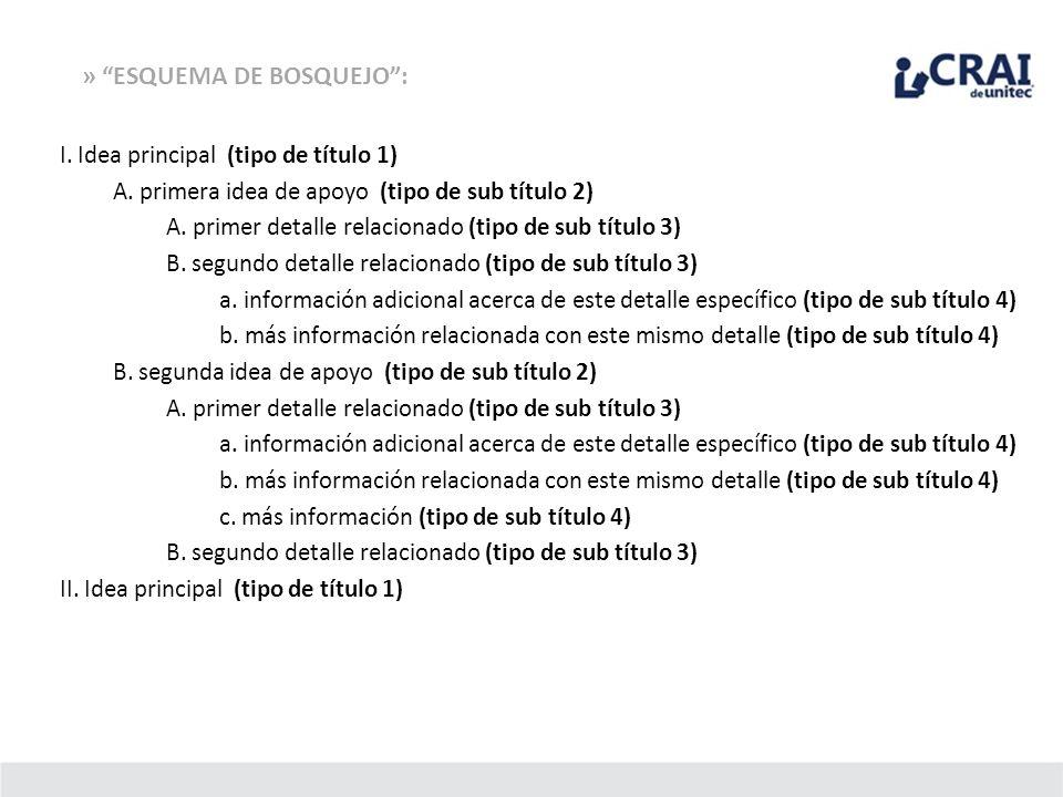 » ESQUEMA DE BOSQUEJO: I. Idea principal (tipo de título 1) A. primera idea de apoyo (tipo de sub título 2) A. primer detalle relacionado (tipo de sub
