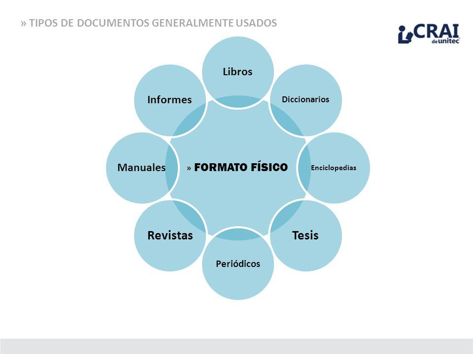 » FORMATO FÍSICO Libros Diccionarios Enciclopedias Tesis Periódicos Revistas ManualesInformes » TIPOS DE DOCUMENTOS GENERALMENTE USADOS