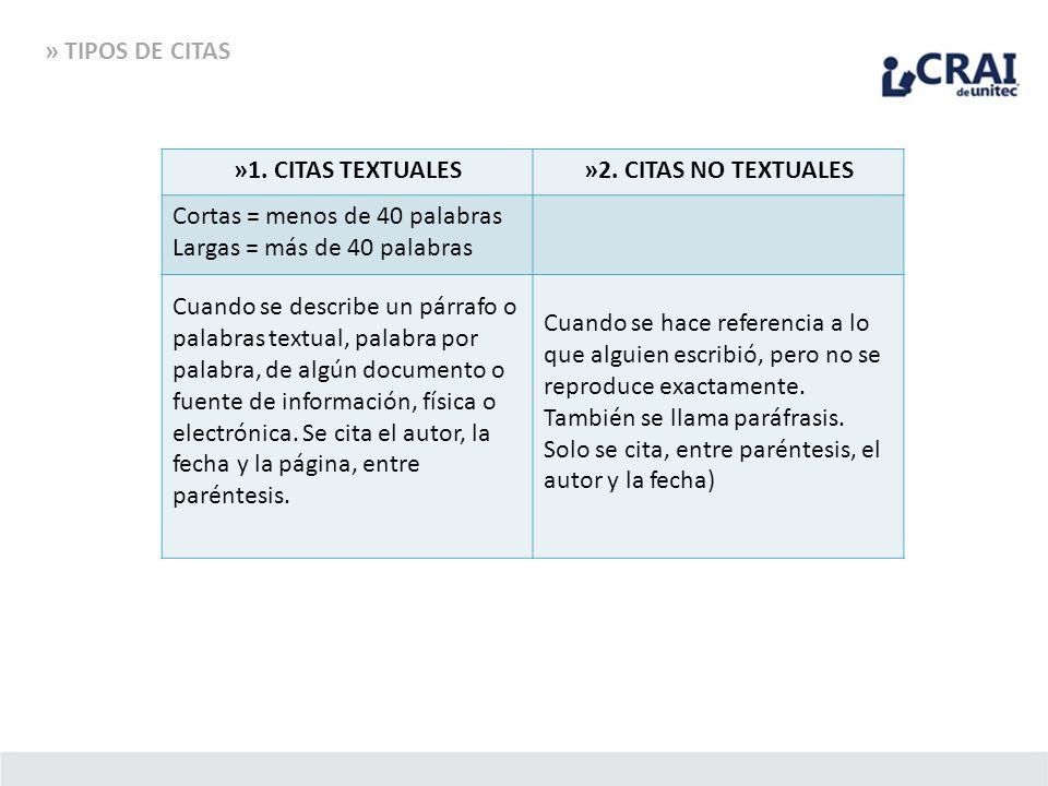 » TIPOS DE CITAS 1. CITAS TEXTUALES A. Cortas = menos de 40 palabras B. Largas = + de 40 palabras »1. CITAS TEXTUALES»2. CITAS NO TEXTUALES Cortas = m