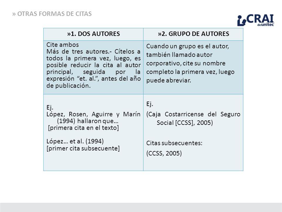 » OTRAS FORMAS DE CITAS »1. DOS AUTORES»2. GRUPO DE AUTORES Cite ambos Más de tres autores.- Cítelos a todos la primera vez, luego, es posible reducir