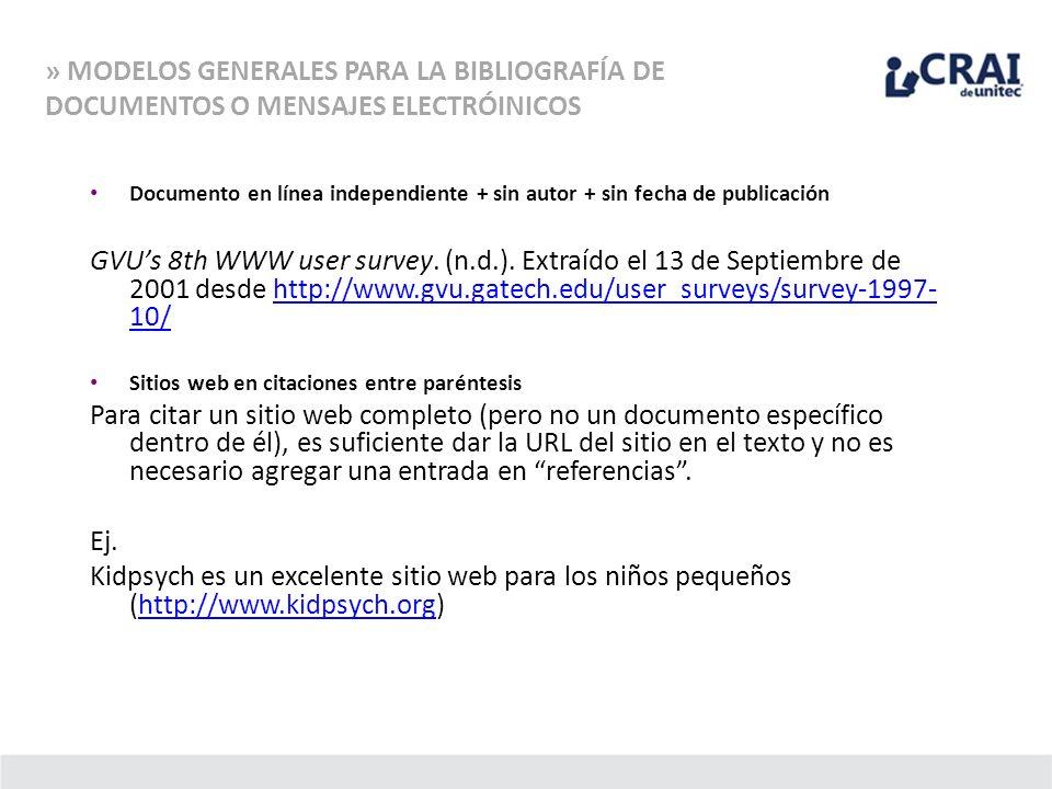 Documento en línea independiente + sin autor + sin fecha de publicación GVUs 8th WWW user survey. (n.d.). Extraído el 13 de Septiembre de 2001 desde h