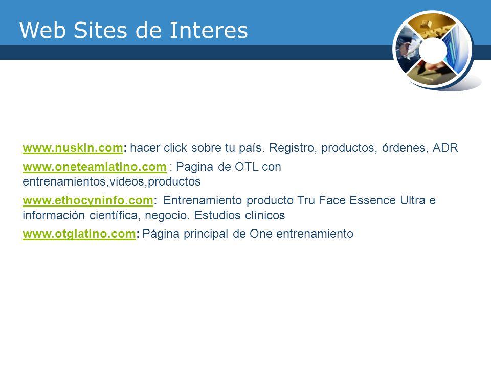 Web Sites de Interes www.nuskin.comwww.nuskin.com: hacer click sobre tu país. Registro, productos, órdenes, ADR www.oneteamlatino.comwww.oneteamlatino