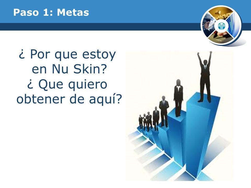 Paso 1: Metas ¿ Por que estoy en Nu Skin? ¿ Que quiero obtener de aquí?
