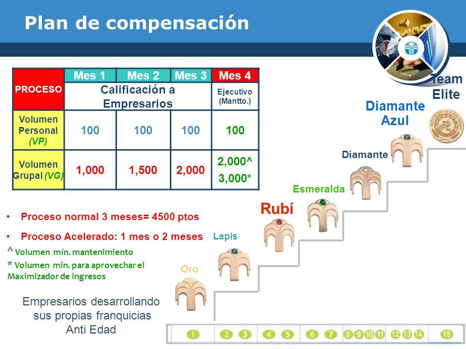 Plan de compensación PROCESO Mes 1Mes 2Mes 3Mes 4 Calificación a Empresarios Ejecutivo (Mantto.) Volumen Personal (VP) 100 Volumen Grupal (VG) 1,0001,