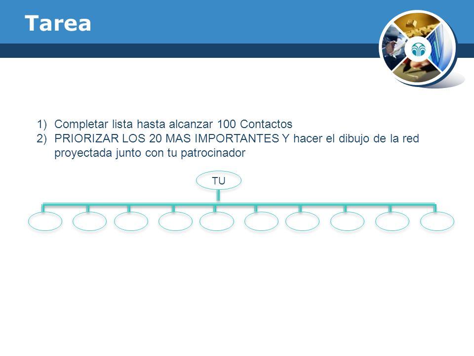 Tarea 1)Completar lista hasta alcanzar 100 Contactos 2)PRIORIZAR LOS 20 MAS IMPORTANTES Y hacer el dibujo de la red proyectada junto con tu patrocinad