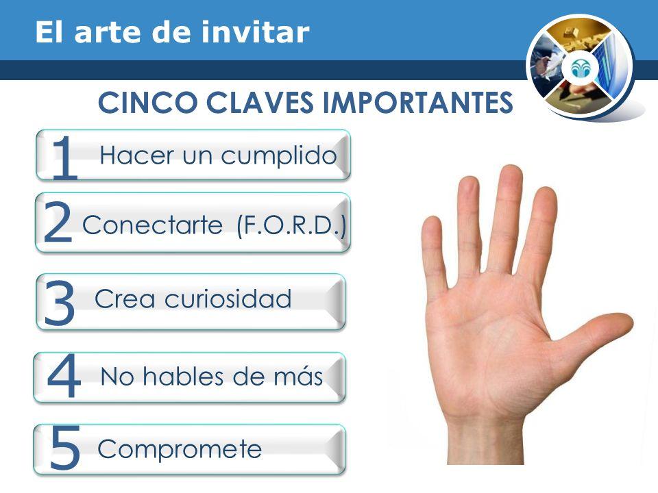 El arte de invitar CINCO CLAVES IMPORTANTES 1 Hacer un cumplido 2 Crea curiosidad 3 No hables de más 4 5 Compromete Conectarte (F.O.R.D.)