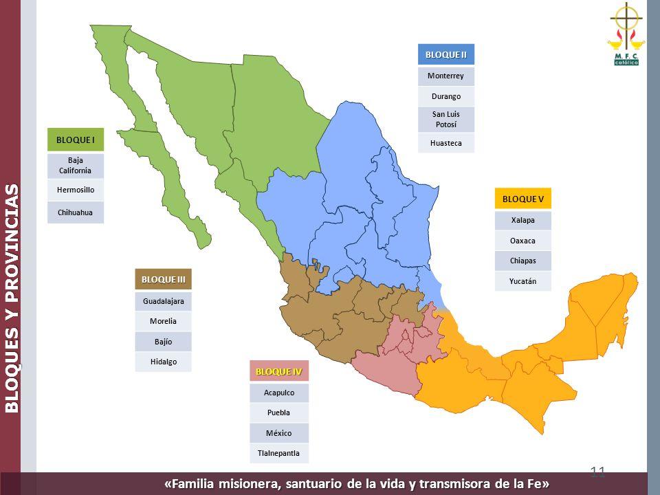 «Familia misionera, santuario de la vida y transmisora de la Fe» 11 BLOQUE I Baja California Hermosillo Chihuahua BLOQUE III Guadalajara Morelia Bajío