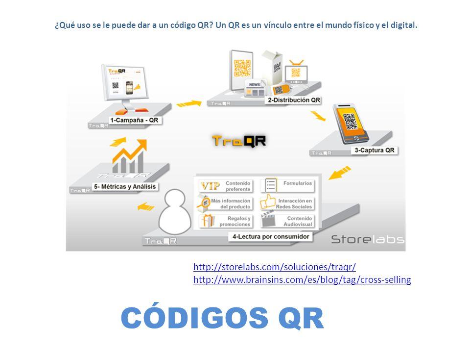 CÓDIGOS QR ¿Qué uso se le puede dar a un código QR? Un QR es un vínculo entre el mundo físico y el digital. http://storelabs.com/soluciones/traqr/ htt