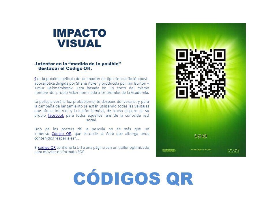 CÓDIGOS QR IMPACTO VISUAL -Intentar en la medida de lo posible destacar el Código QR. 99 es la próxima película de animación de tipo ciencia ficción p