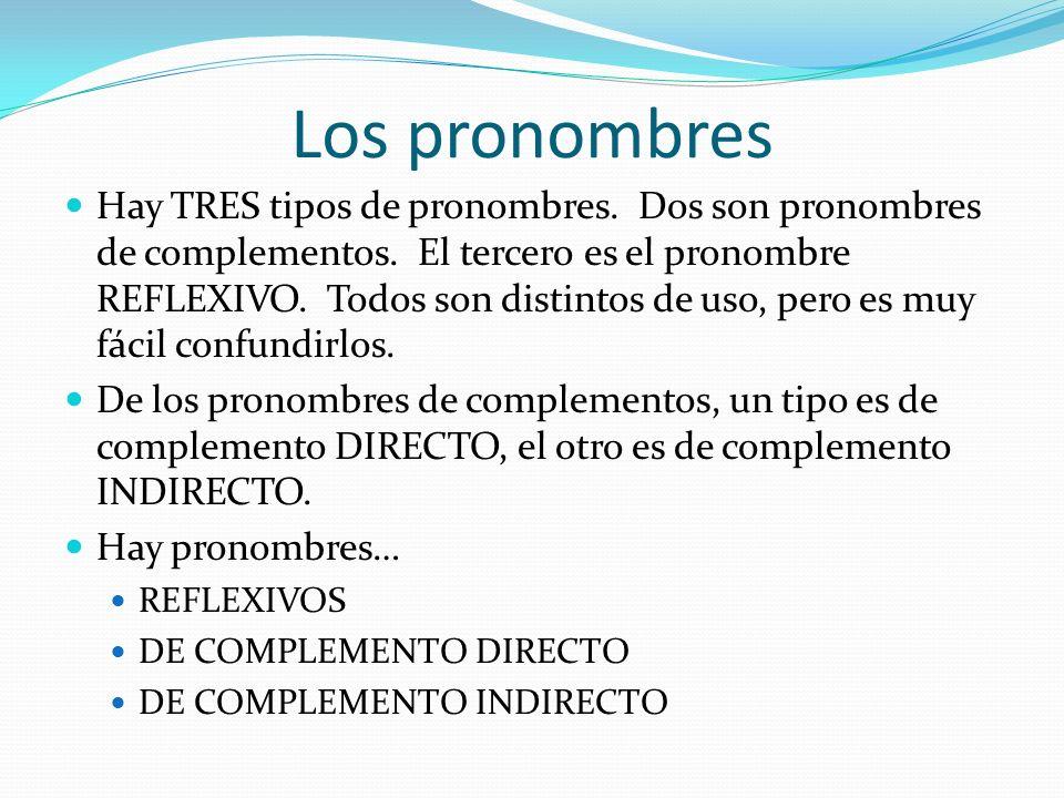 Los pronombres Hay TRES tipos de pronombres.Dos son pronombres de complementos.