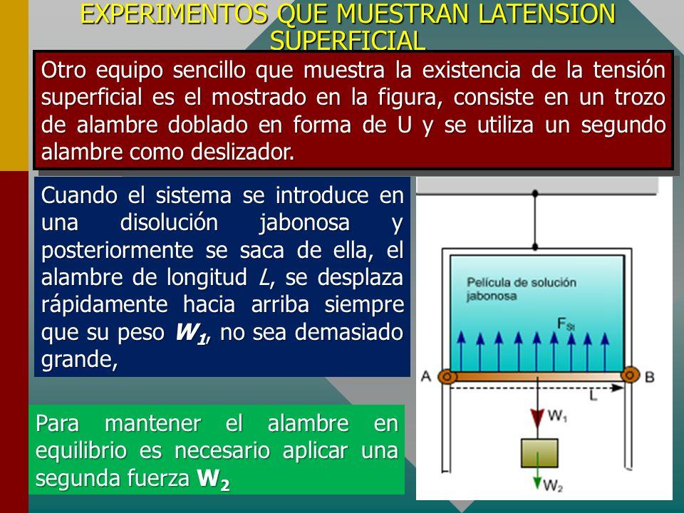 EXPERIMENTOS QUE MUESTRAN LATENSION SUPERFICIAL Una forma experimental como puede mostrarse los fenómenos de la tensión superficial es considerar un anillo de alambre de algunos milímetros de diámetro en el cual se ha instalado un bucle de hilo tal como se muestra en la figura