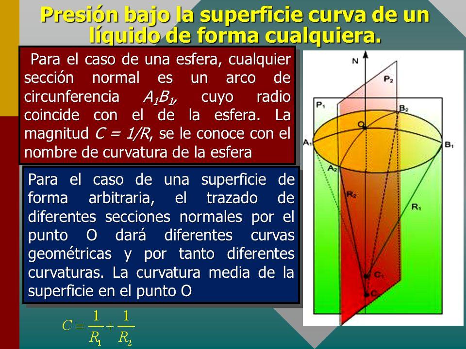 Presión bajo la superficie curva de un líquido de forma cualquiera. Para determinar la diferencia de presión bajo una superficie de forma arbitraria,