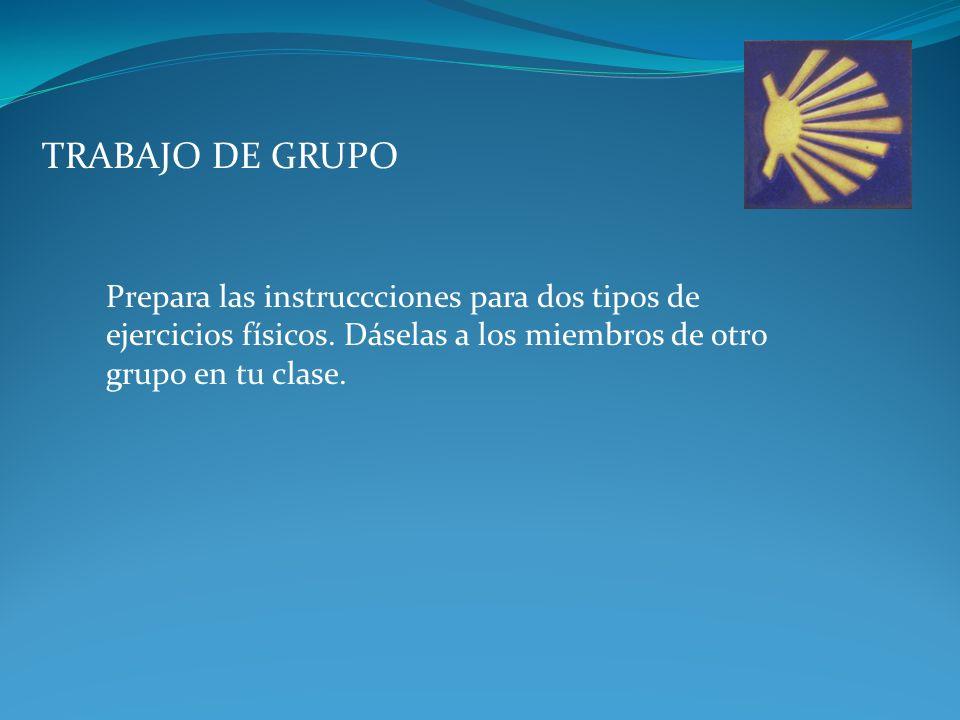 TRABAJO DE GRUPO Prepara las instruccciones para dos tipos de ejercicios físicos.