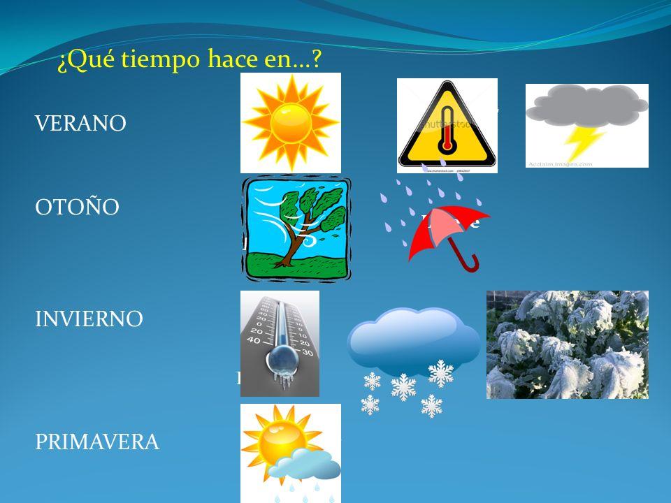 Hay tormenta Hace buen tiempo Hay helada Nieva Hace frío Llueve Hace viento Hace calor Hace sol VERANO PRIMAVERA INVIERNO OTOÑO ¿Qué tiempo hace en…