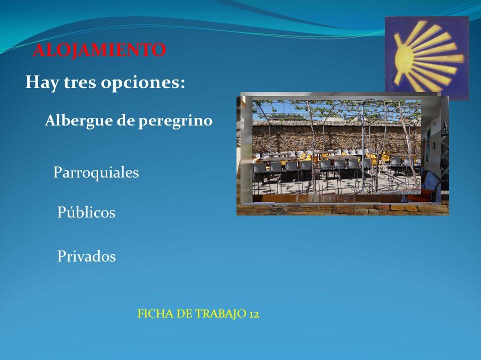 ALOJAMIENTO Albergue de peregrino Hay tres opciones: Parroquiales Públicos Privados FICHA DE TRABAJO 12