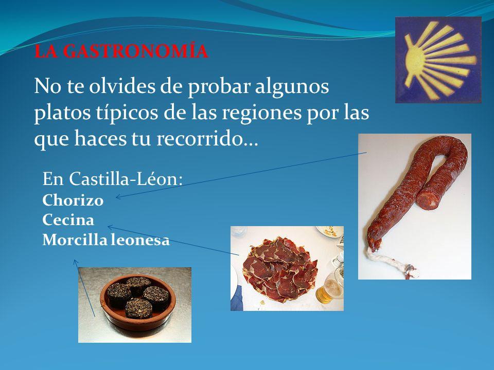 LA GASTRONOMÍA No te olvides de probar algunos platos típicos de las regiones por las que haces tu recorrido… En Castilla-Léon: Chorizo Cecina Morcilla leonesa