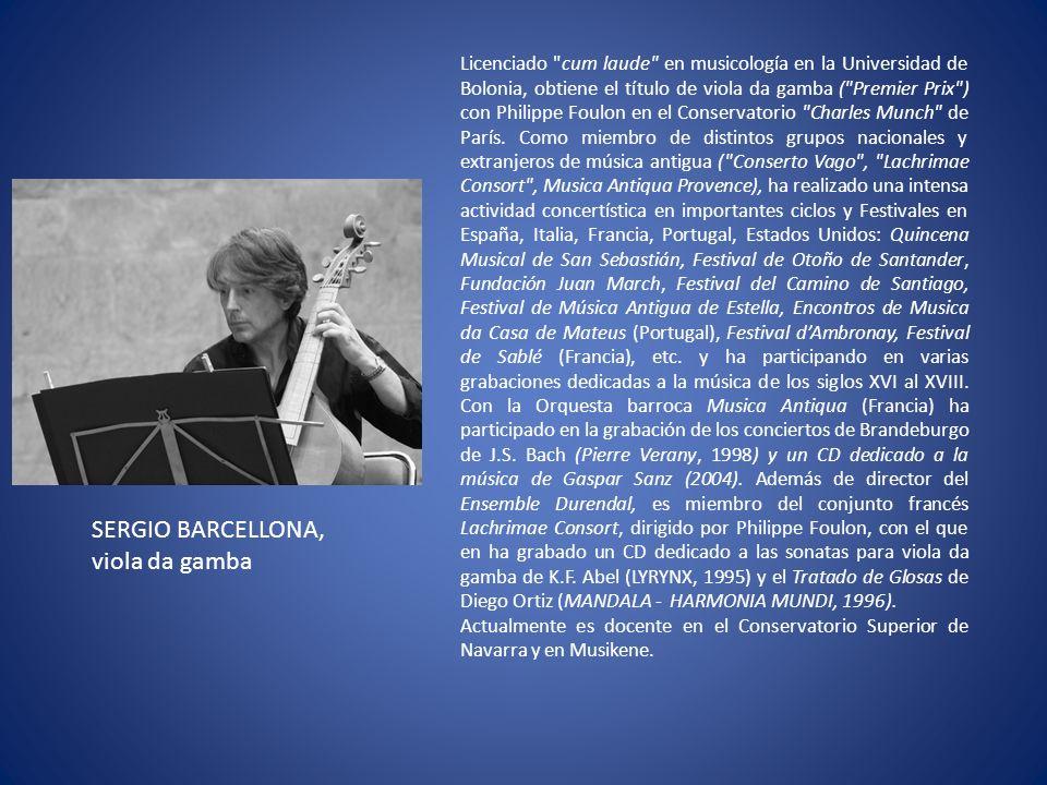 Licenciado cum laude en musicología en la Universidad de Bolonia, obtiene el título de viola da gamba ( Premier Prix ) con Philippe Foulon en el Conservatorio Charles Munch de París.