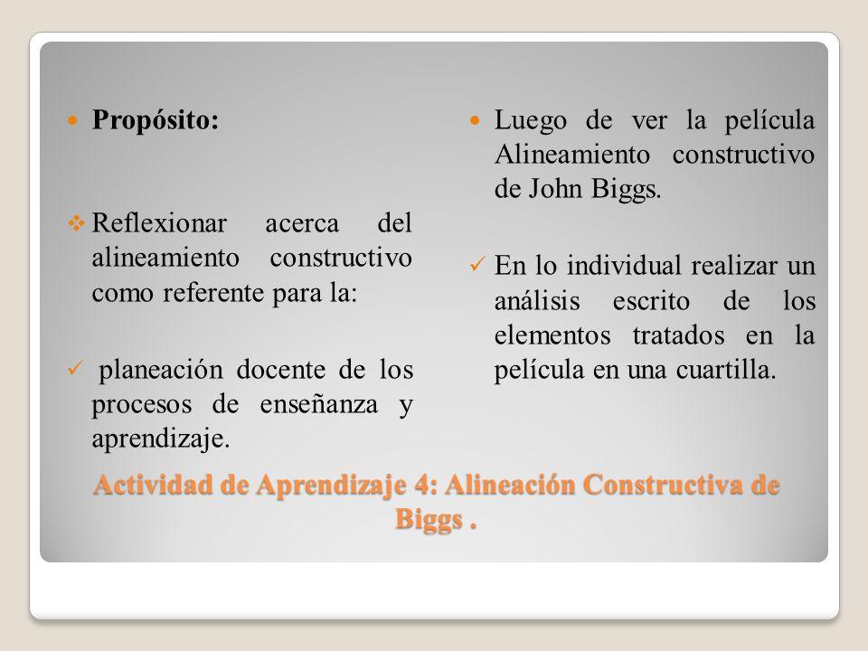 Actividad de Aprendizaje 4: Alineación Constructiva de Biggs. Actividad de Aprendizaje 4: Alineación Constructiva de Biggs. Propósito: Reflexionar ace